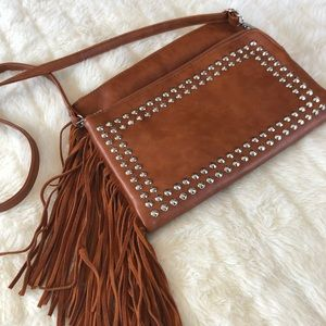 MMS Brown crossbody with fringe & studs